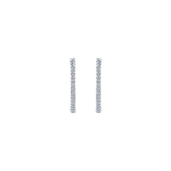 14K White Gold Inside Out Diamond Hoop Earrings Image 3 Koerber's Fine Jewelry, Inc. New Albany, IN