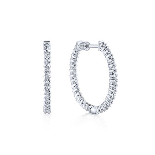 14K White Gold Inside Out Diamond Hoop Earrings Koerber's Fine Jewelry, Inc. New Albany, IN