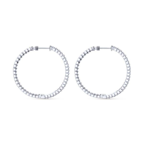 14K White Gold Prong Set Inside Out Diamond Hoop Earrings Image 2 Koerber's Fine Jewelry, Inc. New Albany, IN
