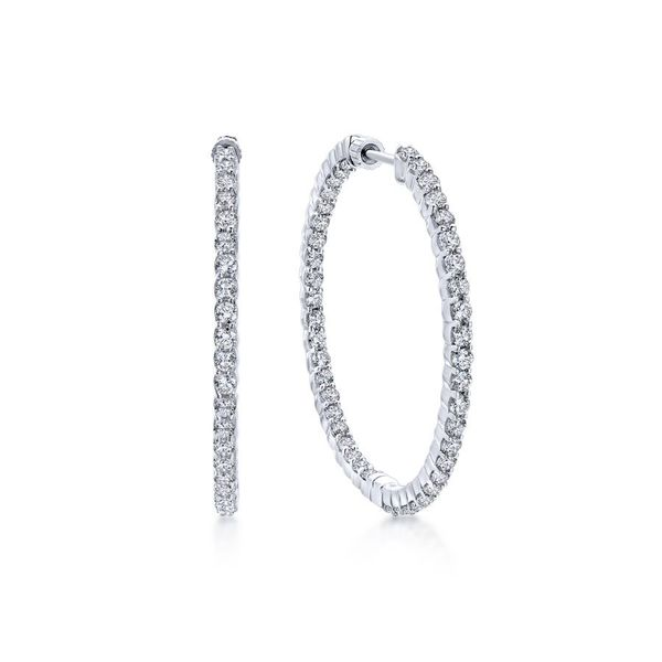 14K White Gold Prong Set Inside Out Diamond Hoop Earrings Koerber's Fine Jewelry, Inc. New Albany, IN