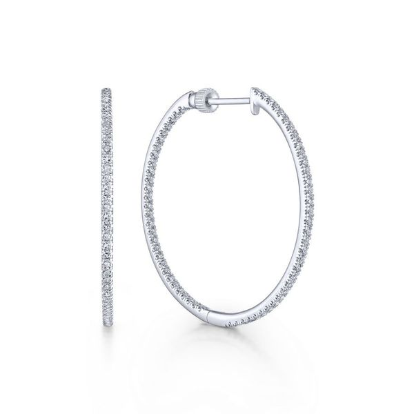 14K White Gold French Pave Inside Out Diamond Hoop Earrings Koerber's Fine Jewelry, Inc. New Albany, IN