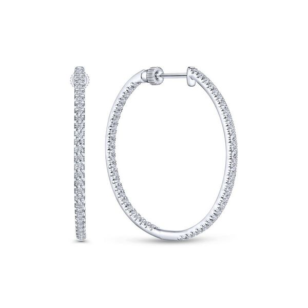14K White Gold French Pave Round Inside Out Diamond Hoop Earrings Koerber's Fine Jewelry, Inc. New Albany, IN