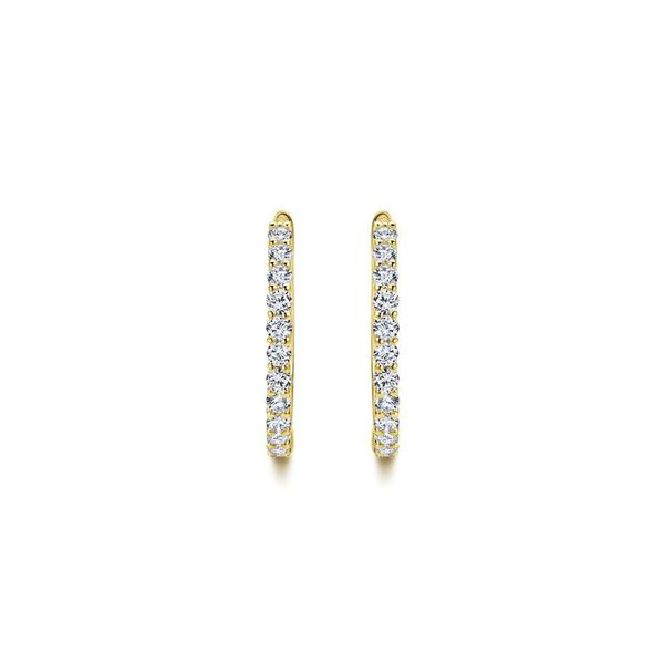 14K Yellow Gold Prong Set Classic Diamond Hoop Earrings Image 2 Koerber's Fine Jewelry, Inc. New Albany, IN