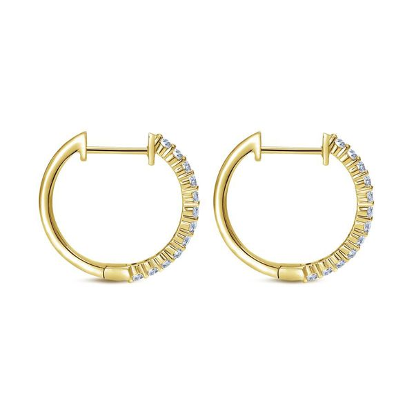 14K Yellow Gold Prong Set Classic Diamond Hoop Earrings Image 3 Koerber's Fine Jewelry, Inc. New Albany, IN