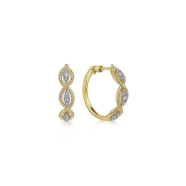 14K Yellow Gold Twisted Layered Diamond Hoop Earrings Koerber's Fine Jewelry, Inc. New Albany, IN