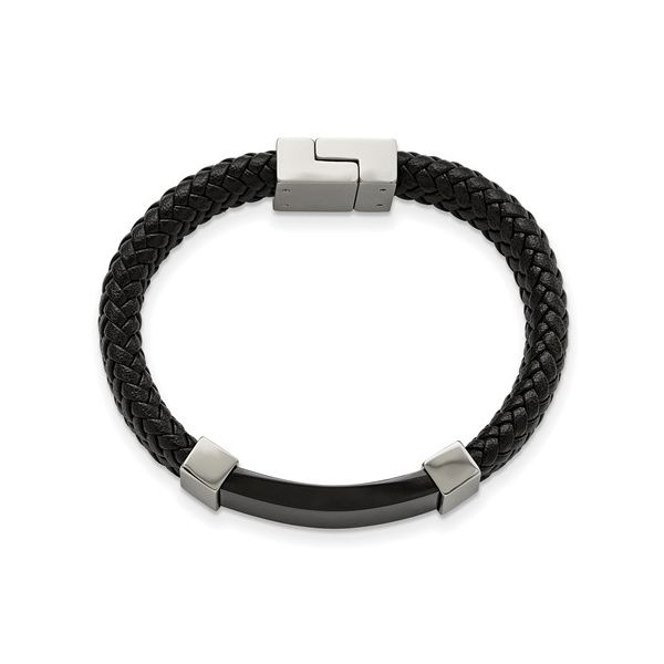 Stainless Steel Polished Black IP-Plated With Black Leather Bracelet Image 2 Koerber's Fine Jewelry, Inc. New Albany, IN