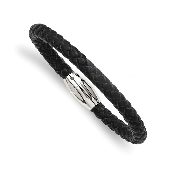 Stainless Steel Black Leather Bracelet Koerber's Fine Jewelry, Inc. New Albany, IN