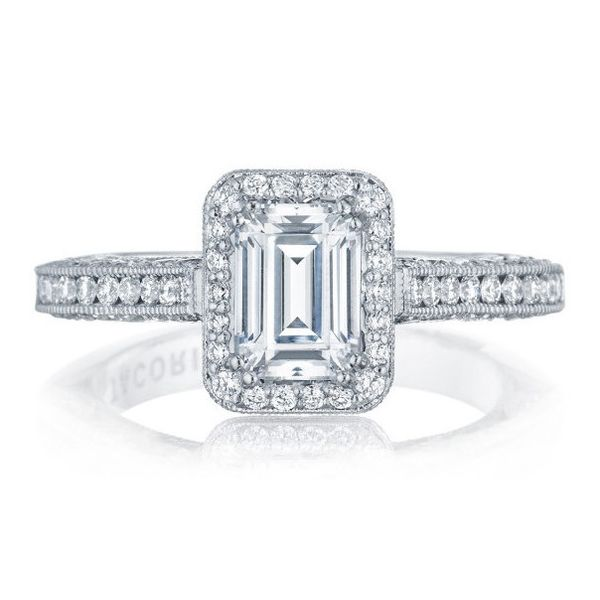 Tacori Classic Crescent Halo Engagement Ring With Emerald Cut Ht2550ec7x5w Diamond Engagement Rings Lancaster Pa Jewelry Koser Jewelers Mount Joy Pa