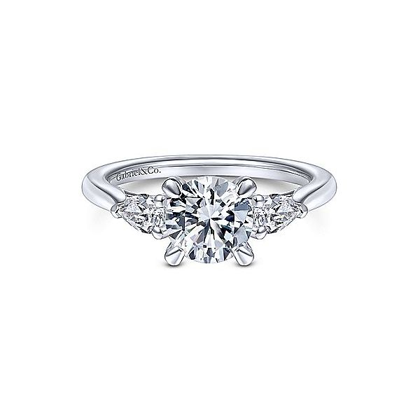 Gabriel & Co. Sunday Pear Shape Accent Engagement Ring Mounting Koser Jewelers Mount Joy, PA
