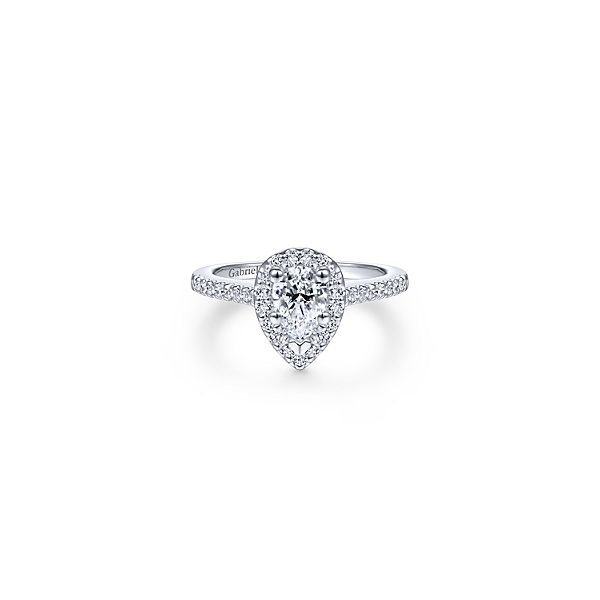 Gabriel & Co. Paige Pear Shape Halo Engagement Ring Mounting Koser Jewelers Mount Joy, PA