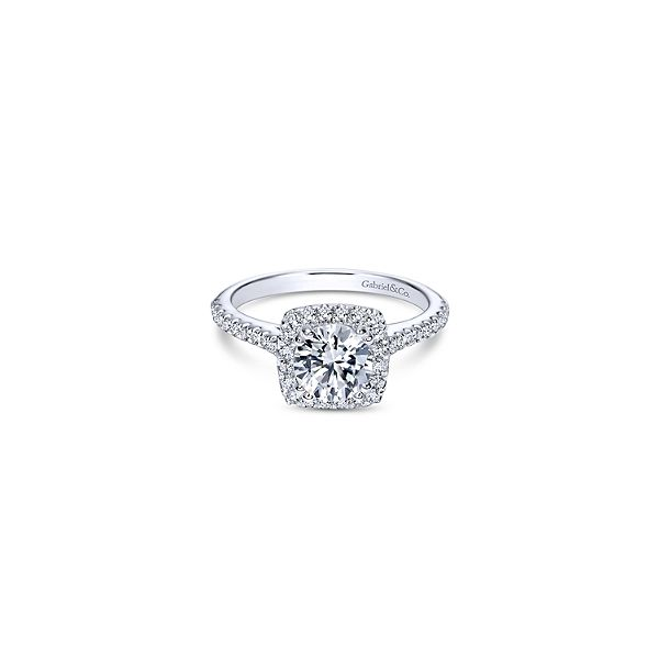 Gabriel & Co. Michaela Cushion Halo Engagement Ring Mounting Koser Jewelers Mount Joy, PA