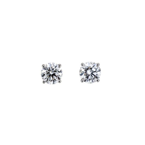 Round Diamond Stud Earrings 0.30 Total Diamond Weight 14K White Gold 4 Prong Koser Jewelers Mount Joy, PA
