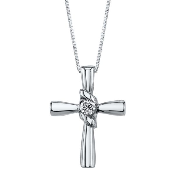Sirena Cross Diamond Pendant 0.10 Carat 14K White Gold Koser Jewelers Mount Joy, PA