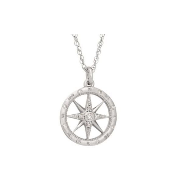 Small Compass Diamond Pendant Koser Jewelers Mount Joy, PA
