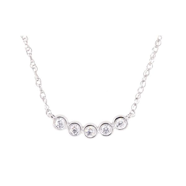 Five Round Bezel Set Diamond Necklace Koser Jewelers Mount Joy, PA