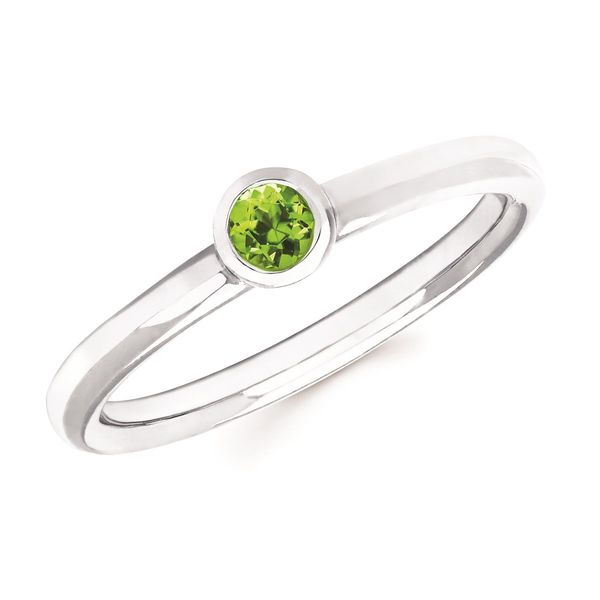 Bezel Set Peridot Ring Birthstone Koser Jewelers Mount Joy, PA