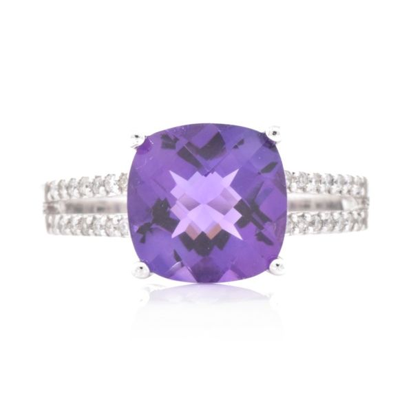 Cushion Amethyst & Diamond Split Shank Ring Koser Jewelers Mount Joy, PA