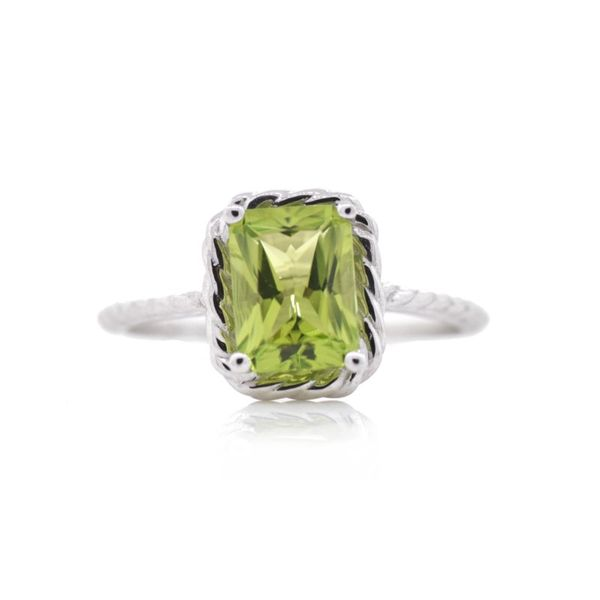 Radiant Peridot Rope Halo Ring Koser Jewelers Mount Joy, PA