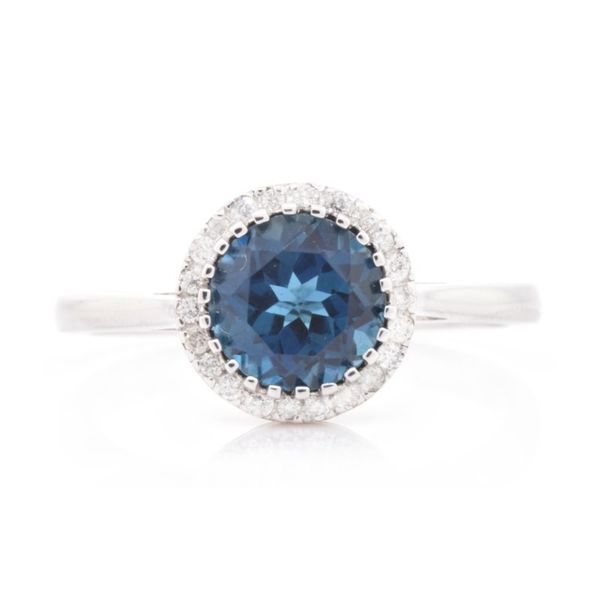 Round London Blue Topaz & Diamond Halo Ring Koser Jewelers Mount Joy, PA