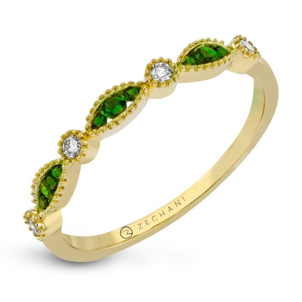Zeghani Tsavorite Garnet & Diamond Milgrain Band Koser Jewelers Mount Joy, PA