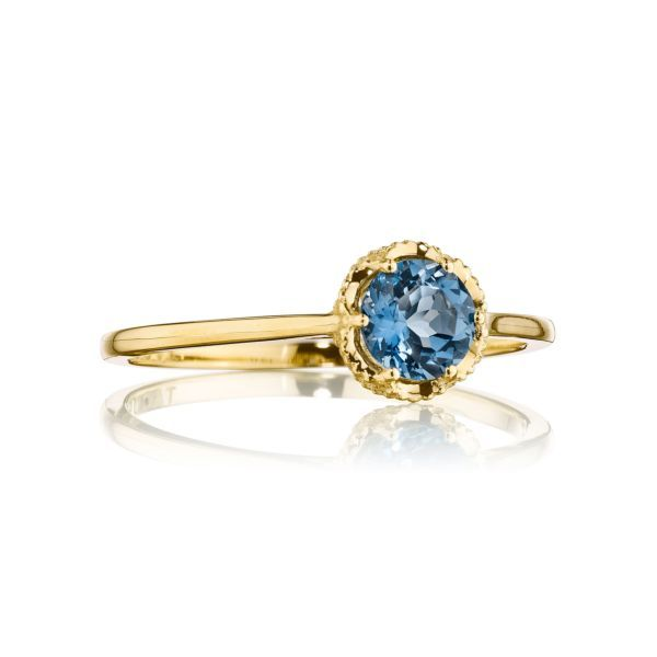 Tacori Petite Crescent Crown London Blue Topaz Ring Koser Jewelers Mount Joy, PA