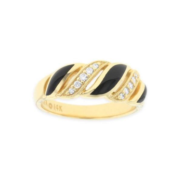Kabana Onyx Inlay & Diamond Milgrain Ring Koser Jewelers Mount Joy, PA