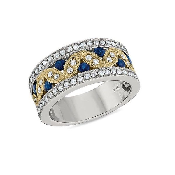 Diamond & Sapphire Milgrain Band Koser Jewelers Mount Joy, PA