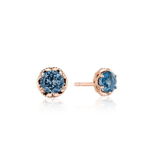 Tacori Petite Crescent Crown London Blue Topaz Stud Earrings Koser Jewelers Mount Joy, PA