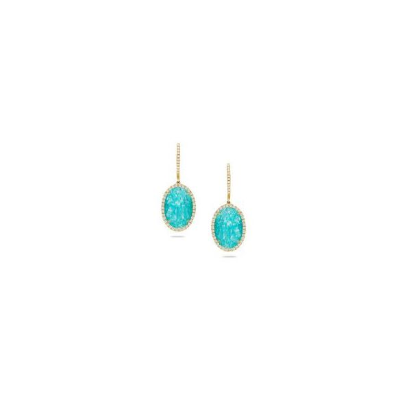 Doves Amazon Breeze Diamond & Clear Quartz Over Amazonite Earrings Koser Jewelers Mount Joy, PA