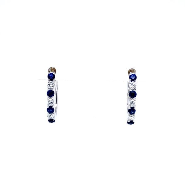 Sapphire & Diamond Oval Shaped Hoop Earrings Koser Jewelers Mount Joy, PA