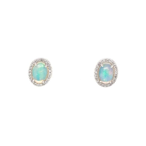 Opal & Diamond Halo Stud Earrings Koser Jewelers Mount Joy, PA