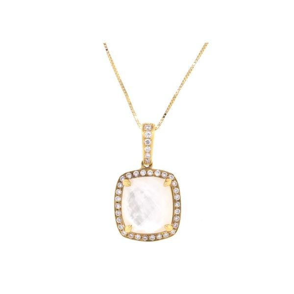 Doves White Orchid Pendant 18K Yellow Gold Koser Jewelers Mount Joy, PA