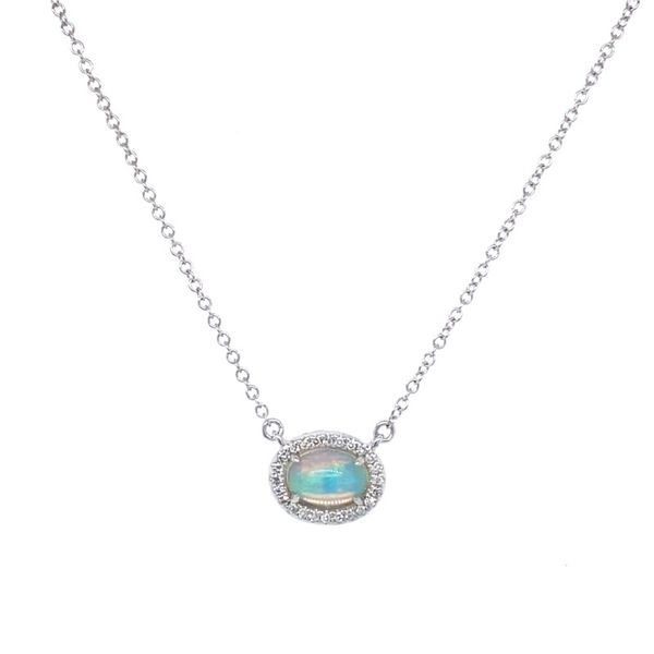 Oval Opal & Diamond Halo Pendant Koser Jewelers Mount Joy, PA