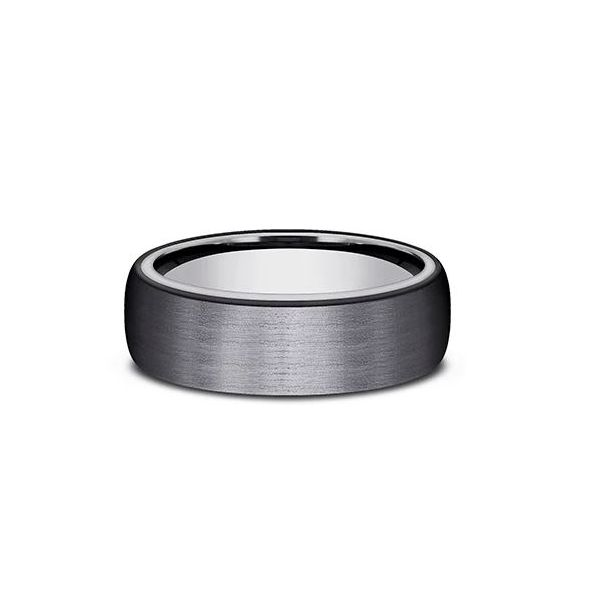 Benchmark 6.5mm Satin Men's Wedding Band Black Titanium Outer Band with an Inner Tantalum Band Koser Jewelers Mount Joy, PA