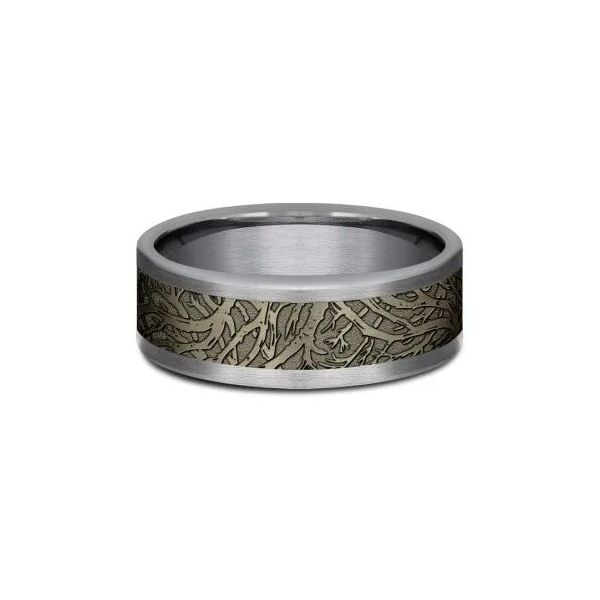 Benchmark 8mm Battleship Bronze Enchanted Forest Men's Wedding Band with Grey Tantalum Koser Jewelers Mount Joy, PA