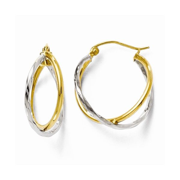 Polished Twist Hoop Earrings 14K Yellow and White Gold Koser Jewelers Mount Joy, PA