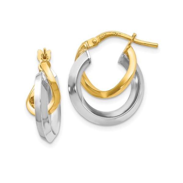 Double Hoop Earrings 14K Yellow and White Gold Koser Jewelers Mount Joy, PA