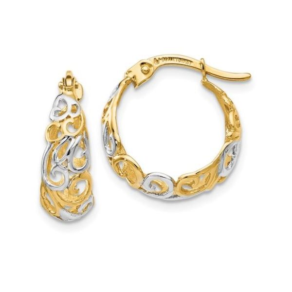 Filigree Hoop Earrings 14K Yellow and White Gold Koser Jewelers Mount Joy, PA