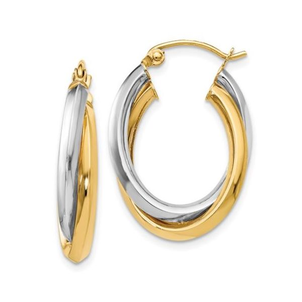 Two-Tone Oval Twist Hinged Hoop Earrings Koser Jewelers Mount Joy, PA