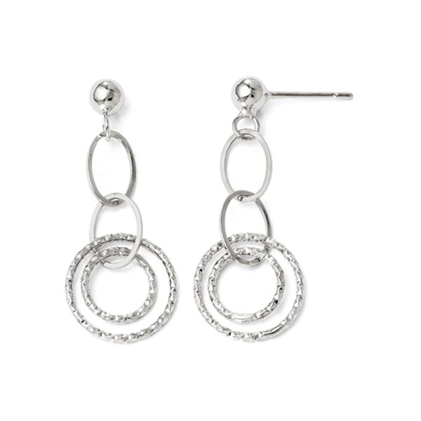 Diamond-Cut White Circle Post Dangle Earrings Koser Jewelers Mount Joy, PA