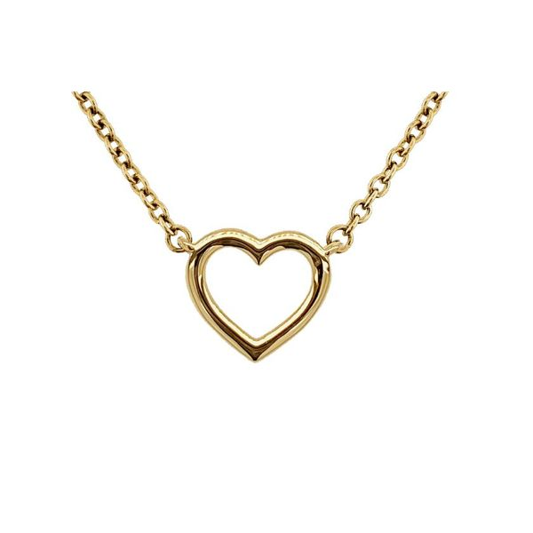 Small Stationary Polished Open Heart Necklace Koser Jewelers Mount Joy, PA
