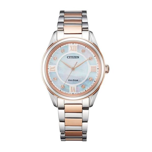 Citizen® Eco-Drive® Ladies Mother of Pearl Dial Pink Gold-Tone Stainless Bracelet Watch Koser Jewelers Mount Joy, PA