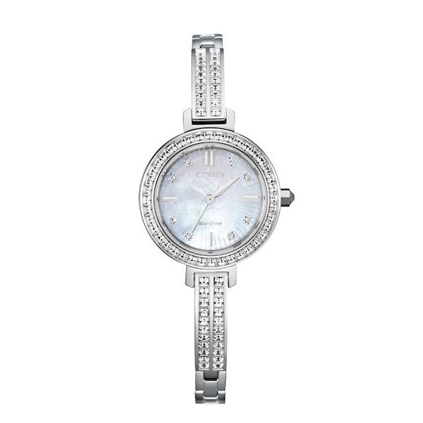 Citizen® Eco-Drive® Ladies Mother Of Pearl Swarovski® Crystal Bangle Watch Koser Jewelers Mount Joy, PA