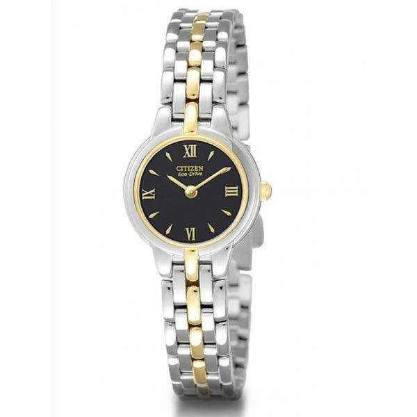 Citizen® Eco-Drive® Ladies Small Black Dial Two-Tone Bracelet Watch Koser Jewelers Mount Joy, PA