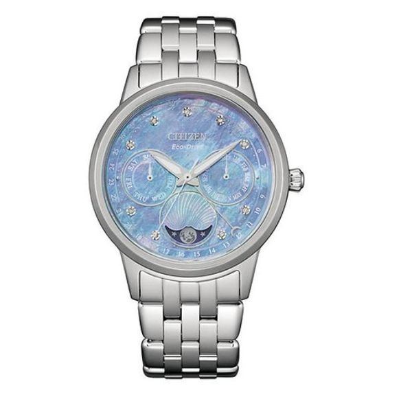 Citizen® Eco-Drive® Ladies Calendrier Blue Mother Of Pearl Dial Moonphase Stainless Steel Watch Koser Jewelers Mount Joy, PA