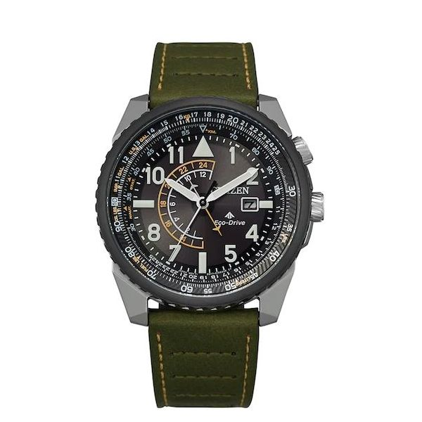 Citizen® Eco-Drive® Men's Promaster Nighthawk Green Leather Strap Watch Koser Jewelers Mount Joy, PA