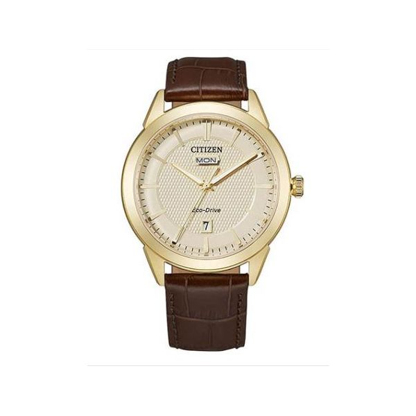 Gold Dial Brown Leather Strap Citizen® Eco-Drive® Watch Koser Jewelers Mount Joy, PA