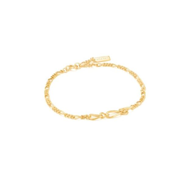 Ania Haie Chain Reaction Figaro Bracelet Gold Tone Sterling Silver Koser Jewelers Mount Joy, PA