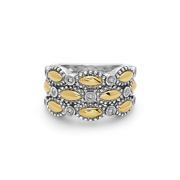 Charles Krypell, 0.17 tdw 3 Row Firefly Ring, Sterling and 18KY Koser Jewelers Mount Joy, PA