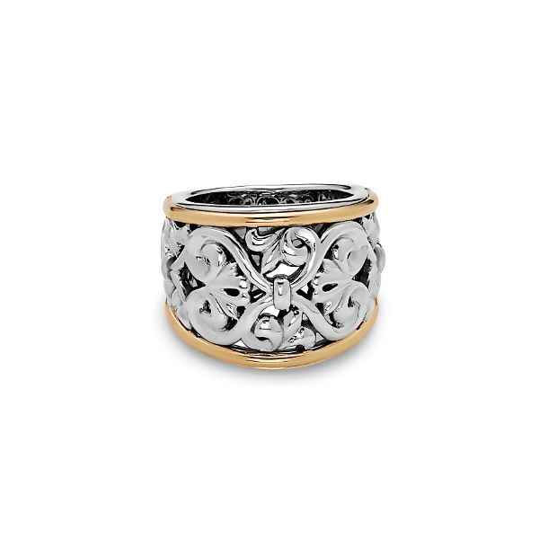 Charles Krypell, Wide Filigree Band, Sterling & 18K Yellow Koser Jewelers Mount Joy, PA